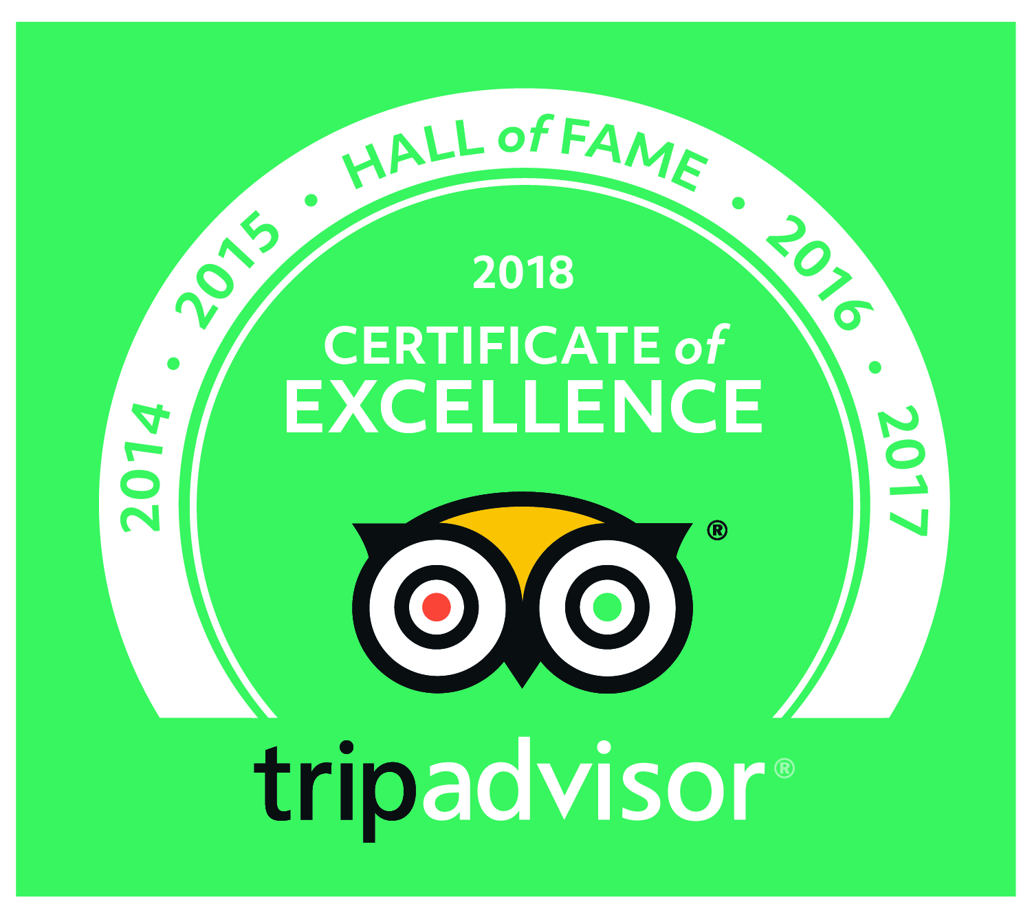 Trip Advisor 2014 2018 Certificate Of Excellence Hall Of Fame